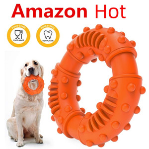 Pet Dog Chew Toy Bite-Resistant Molar Rubber Ring For Medium Large Dogs Puppy Durable Rubber Round Ring Pet Teeth Grinding Donut Toy