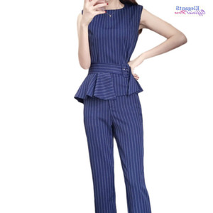 Elegant Women Suit Striped Pattern Fashion Casual Pants Suits Female 2 Piece Set Sleeveless Tank Tops and Trousers Sashes 2020