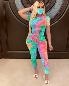 Women 2PCS Sets Tie Dyeing Print Clothes Sets 2020 New V neck T shirt Tops High Waist Long Pants Tracksuit Outfit 2