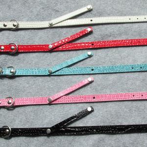 10 stücke Leeres PU-Leder-Haustierkatze-Hundehalsband mit Slide-Bar für 10-mm-DIY-Slide-Buchstaben Charms