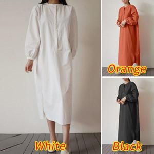 Женщины Midi платье 2020 Дама Урожай Sundress осень с длинным рукавом Vestidos ZANZEA Женского Повседневная Твердая Robe Femme Plus Размер 5XL