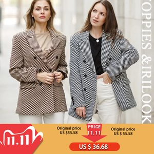 toppies vintage Houndstooth woolen Jacket double breasted long coat women outwear winter clothes 201103