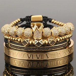 4pcs set Gold Hip Hop Hand Made Bead Bracelet Men Copper Pave CZ Zircon Crown Roman Numeral Bracelets & Bangles Jewelry