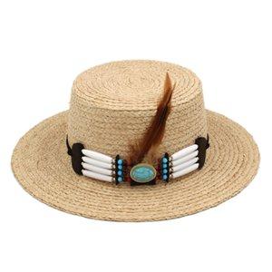 Summer Unisex Raffia Straw Bowler Cap Wide Brim Beach Sun Hat Boater Sailor Dome Top Hat Feather Belt