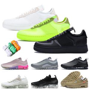 Avec boîte chaussures nike air force 1 off white af1 fly knit air vapormax plus Chaussures de basket-ball pour hommes 97 Chaussures Blanc Volt Noir Taille 12 Baskets Baskets