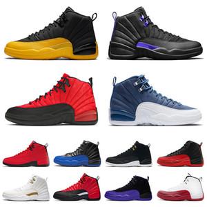 С коробкой Mens 12 12s Баскетбольная обувь грипп Игра XII Dark Concord Университет Золотой Камень Синие Быки Мужские Тренеры Jumpman 23 Спортивные кроссовки