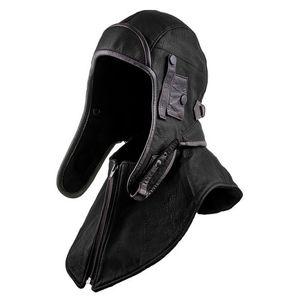 Ushanka Army Helmet Hat Bomber PU Leather Trapper Cap Windproof Earflap Pilot Halloween Hood Costume Cape Shawl For Men Women 201027