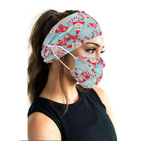 Women's Christmas Mask Headband Printing Fashion Hair Band Headband Button Mask Yoga Sports Headband Mask Turban IIA770