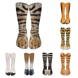 3D печать животных Paw носки Unisex Cat Хлопок Длинный чулок Эластичная дышащая Носок Cute Повседневная мода высокого лодыжки носки зимы теплые теленок Носок