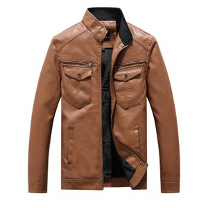 New Men Leather Jackets Motorcycles British Business Casual Fashion High Quality Tactical Jacket PU Mens Bomber Jacket