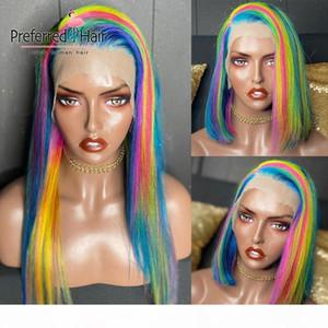 Bevorzugte Rainbow Color gerade Spitze-Front-Perücke Pre Zupforchester Seite gekämmt Bob Perücke brasilianische Remy Spitze-Front-Menschenhaar-Perücken