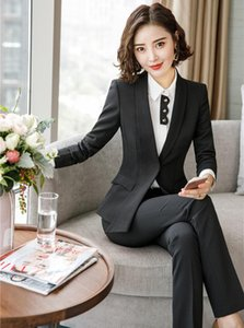 Formal Uniform Designs Pantsuits With Jackets Coat and Pants for Women Business Work Wear Autumn Winter Pantsuits Ladies Blazers