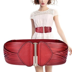 Wide Belt For Women Vintage Fashion Genuine Leather Elastic Waistband Female Red Black Accessories Slimming Belt Ceinture Femme Y200501