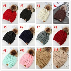Large Women Winter Ball Cable Poms Knitted Ski 12Colors Pom Hat Crochet Beanie CC Cap Bobble Fleece Warm Big Kids Wool Hats Dwcwk