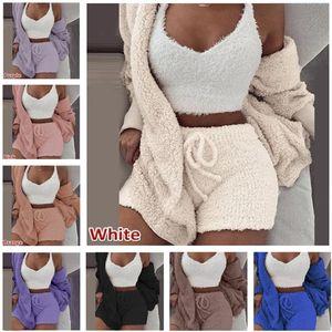 Toison d'hiver Pyjama Set Femmes Blazers Manteau à manches longues Outwear + Gilet sans manches + Shorts 3 Piece Tenues doux en peluche Survêtement de nuit