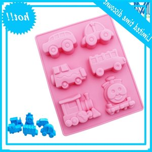 Meltset Car &Train Form Cakevorm non-stick Silicones Mooncake Malls 6 Gates Bakpan Handmade Soap Baking Tool