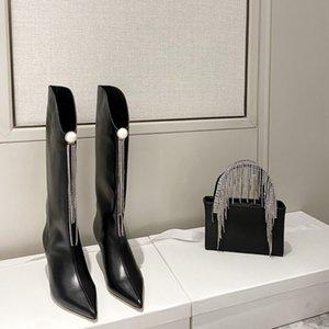 Venta caliente- Moda Diseñador Bloather Rodilla High Boots Cuero Femenino Punta de punta altos Tacones Altos Bombas Zapatos de fiesta Mujeres