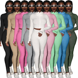 FNOCE autumn women's sets tracksuits sexy Nightclub solid Turtleneck Zipper tops tight trousers stretch Sports Two-Piece Suit
