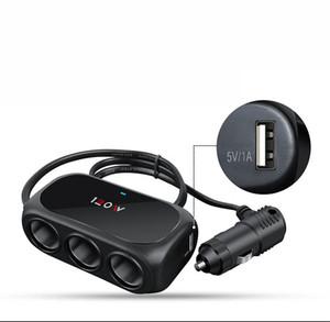 Carregador de carro Splitter 3 em 1 adaptador de energia do carro 120W distribuidor de cigarro de cigarro duplo USB auto porta adaptador de energia do adaptador