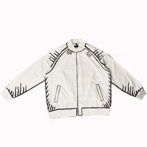 20fw California Sky Baseball Jacket Men com mão Desenho Streetwear Moda Cardigan Shirts Brasão Homme Outdoor Tops Roupa