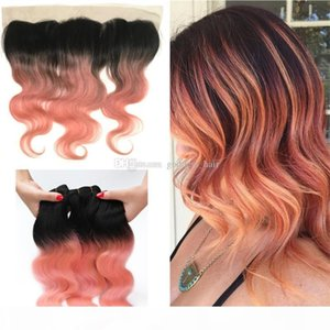 Ombre Color 1b Rose Gold Körperwelle Haargewebt mit Spitze Frontal Ombre Rose Gold Rosa Spitze Frontal mit Haarschußverlängerung
