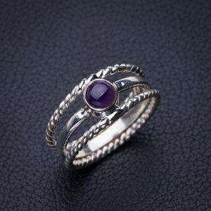 StarGems natürlicher Amethyst Handgefertigter 925er Sterlingsilber Ring 7 E2722 W1231
