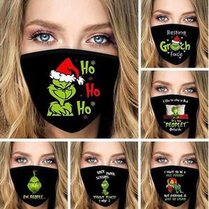 ABD Stok Grinch Pamuk Noel 3D Baskı Cosplay Yüz Maskeleri Kullanımlık Yıkanabilir Toz Geçirmez Sevimli Moda Yüz Maskesi