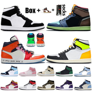 With box 2021 New Jumpman 1 Womens Mens Basketball Shoes 1s Twist High OG Volt Bio Hack Fearless Obsidian University Blue Trainers Sneakers