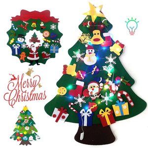 30 LED Colorful Lights DIY Felt Christmas Tree Decor Santa Claus Kids Toys 2021 New Year Gifts Xmas Hanging Ornaments Tree