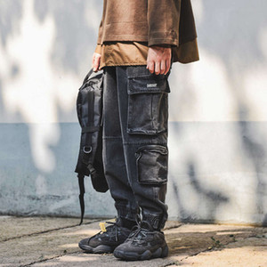 2021 spring New men's joggers trousers American style washed old jeans casual cargo leather pants for men printed Free shipping