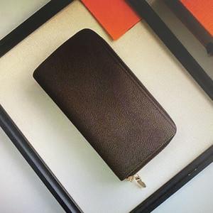 M61723 Горячие Продажи Высочайшее Качество Кожаный кошелек для мужчин Двойная молния Длинные Карты Держатели Монета Кошельки Женщина Кошельки сцепления с коробкой 62535