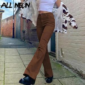 Allneon indie estetics slim marrón flare jeans y2k vintage vintage sólido cintura alta mamá pantalones 90s moda demina pantalones e-girl outfit