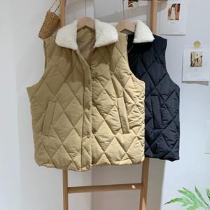 Fur Collar Cotton Vest Coat Autumn Winter Quilted Diamond Women's Warm Sleeveless Jacket 1763