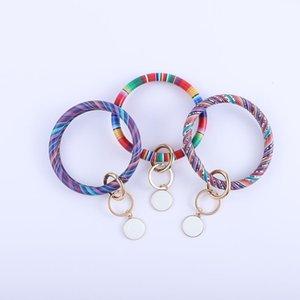 Glands Bracelet en cuir Keychain Porte-clés Porte personnalisé émail multicolore léopard Bangle Keychain Party cadeau KKA1690