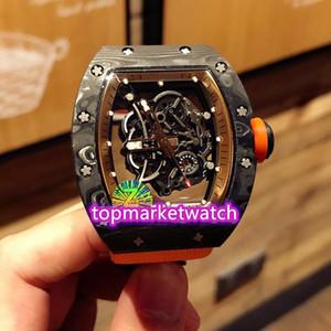 Fabbrica di alta qualità Z-Top Versione RM 055 Ntpt Miglior All in fibra di carbonio di caso di scheletro Dial Giappone NH automatico Rm055 Mens Watch