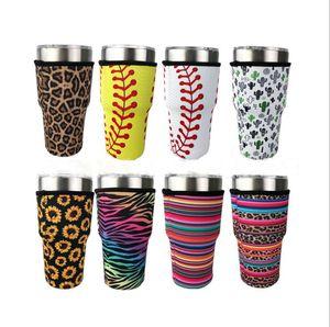 Tumbler Holder Cover Sacs Iced Coffee Cup manches en néoprène isotherme manches Tasses tasses Bouteille d'eau couverture avec sangle 15 Styles 30oz BWB2908