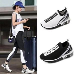 2020 New Men Günlük Ayakkabılar Lüks Sneakers Çorap AyakkabıtatlıGabbanaÜst Kalite Gerçek Deri İşlemeli EUR 35-45
