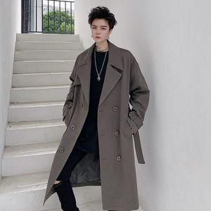 2020 Outono E Inverno Nova Juventude Popular soltas Sólidos Cor coreana trespassado Suit Collar Trench Brasão Top Casual moda