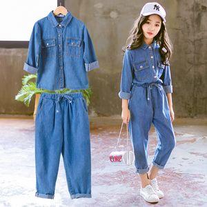 Denim Kids Clothing Set Casual Children Two Piece Suit Solid Blue Jeans Tops +Pants Teenage Girl Set Spring Autumn Tracksuit 201027