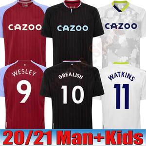 20 21 Aston Villa Soccer Jerseys 2020 2021 Wesley Grealish Kodja El Ghazi Chester McGinn Fans Version Football Men + Kids Kit