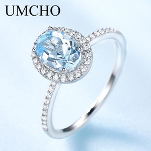 UMCHO lujo Creado Oval Blue Sky anillos de topacio real de Plata 925 Anillos anillo de matrimonio para las mujeres joyería fina cóctel