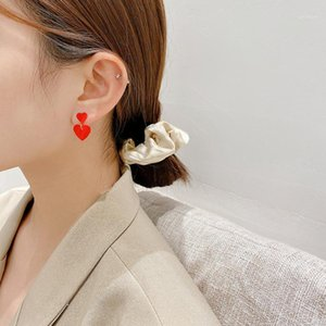 Fashion Vintage Red Color Heart Geometric Earring for Women Girl korean designer stud earings fashion accessoires jewelry 20201