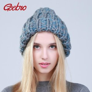 Geebro 2020 Female Winter Warm Mixed Color Beanies Handmade Thick Stick Knitted Coarse Lines Hat Crochet Women Lovely Caps