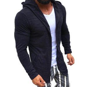 2021 New Mens High Street Long Cardigan 스웨터 망 슬림 피트 후드 카디건 솔리드 컬러 니트 겉옷 스웨터