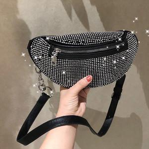 2020 New Women Waist Bags Diamonds Ladies Fanny Pack Fashion Chest Bag Banana Rhinestone Crossbody Shoulder Bags Belt Bag