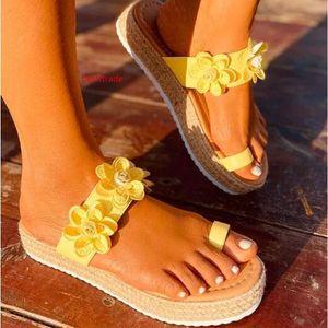 Marchwind Women Summer Sandals Ladies Open Toe Slip on Flower Platform Thong Shoes Woman Fashion Comfort Casual Female Sandalias