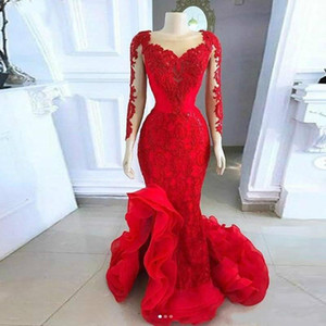 Red Mermaid Evening Dresses 2021 Lace Applique Ruffles Scoop Neck Illusion Long Sleeves Custom Made Prom Party Gown Side Slit Plus Size