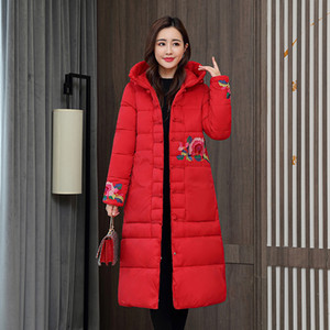 Chinese Style X-long Jacket Women Floral Print Loose Women's Winter Coat Hooded Stand Collar Single Breasted Thick Parkas Female 201028