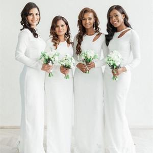 New Style Keyhole Jewel Neck Bridesmaid Dresses 2021 Long Sleeves Sexy Back Split Mermaid Maid of Honor Vestidos