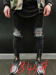 Fashion Desinger Solid Color Casual Apparel Summer Hip Hop Style Homme Clothing Mens Zipper Hole Slim Jeans Summer